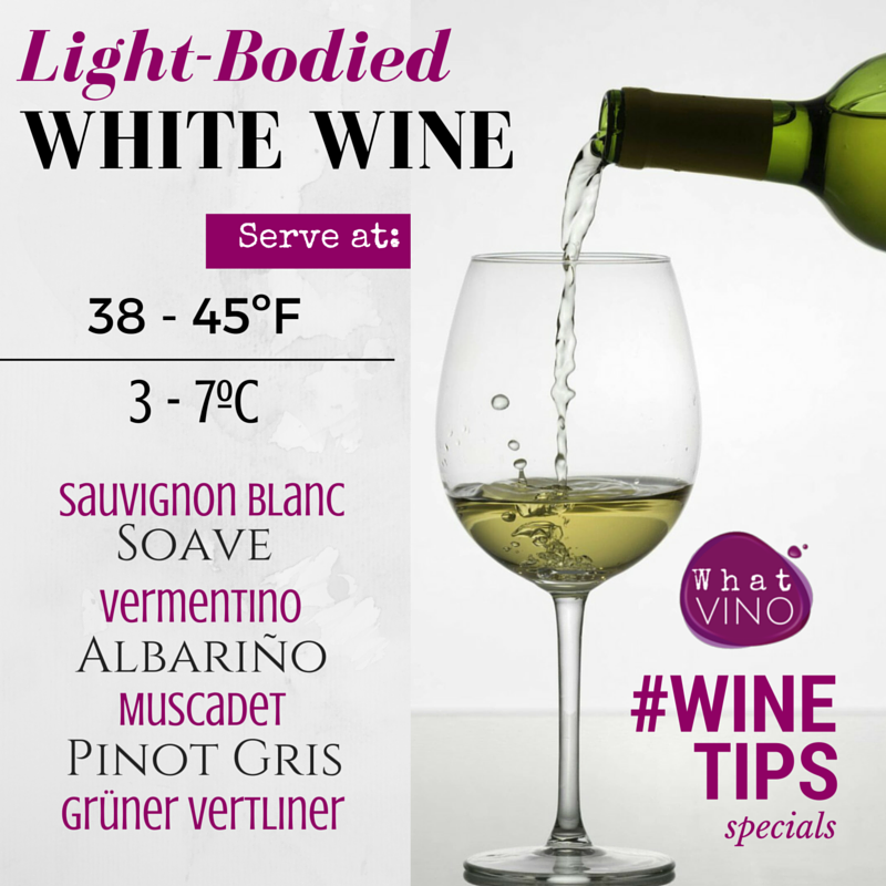 Service Temperature Light Bodied White Wines in What VINO Wine Tips