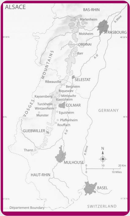 Alsace wine region detailed map in What VINO Wine Regions